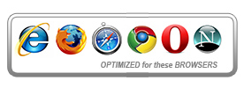 The website is optimized for Internet Explorer, Mozilla, Safari, Chrome, Opera, and Netscape browsers.